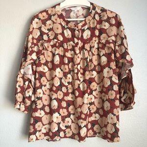 Lauren Conrad Flowered Ruffled Tunic
